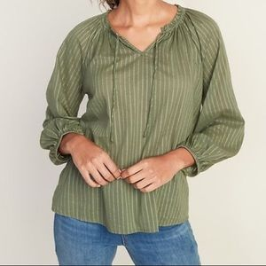 OLD NAVY Tie neck Green Blouse